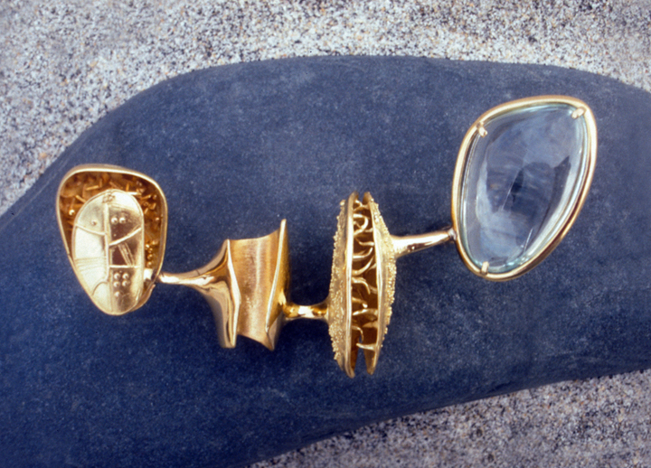 Toza, pin, gold and aquamarine, 1960s