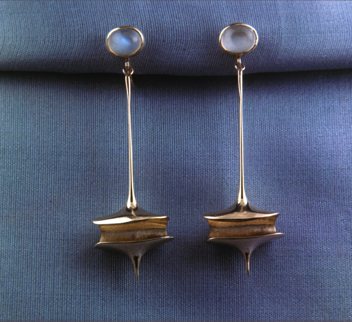 Toza, earrings, gold with moonstone, 1960s