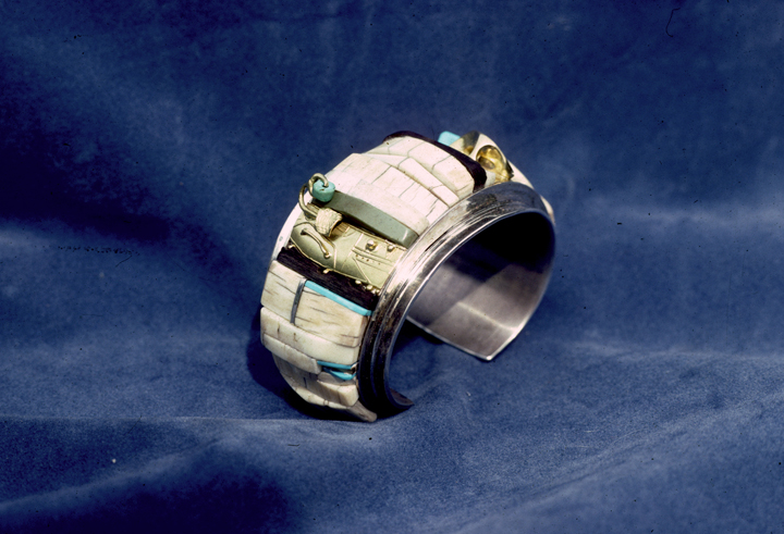 Toza, bracelet, silver and mosaic, made for himself, 1970s
