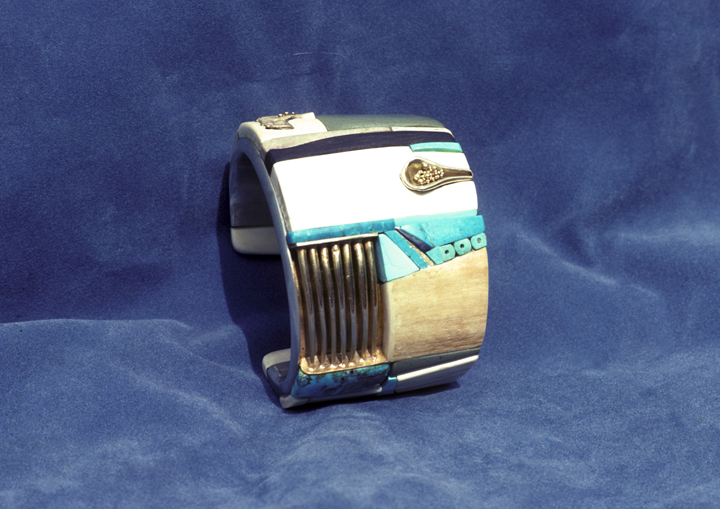 Toza, bracelet, silver and mosaic, side view, 1970s