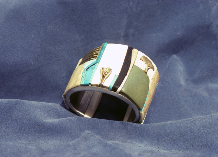 Toza, bracelet, silver and mosaic, top view, 1970s