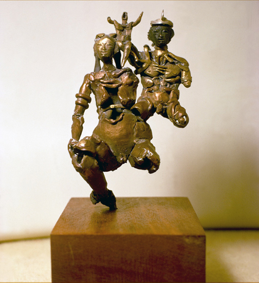 Toza, Sculpture of three bronze figures on a teak base, c. 1970s